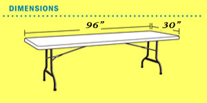 8 Foot Banquet Table Dimensions We rent LifeTime® brand Tables and Chairs.